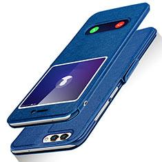 Huawei Enjoy 7S用手帳型 レザーケース スタンド ファーウェイ ネイビー