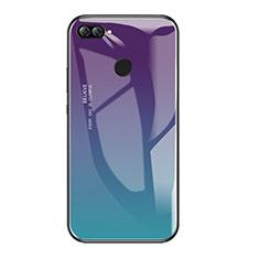 Huawei Enjoy 7S用ハイブリットバンパーケース プラスチック 鏡面 虹 グラデーション 勾配色 カバー ファーウェイ マルチカラー