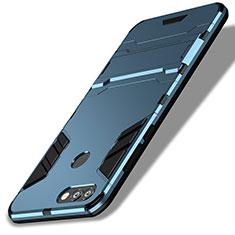 Huawei Enjoy 7S用ハイブリットバンパーケース スタンド プラスチック 兼シリコーン ファーウェイ ネイビー