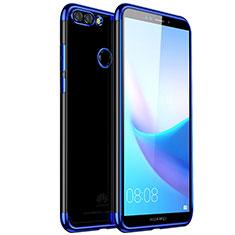 Huawei Enjoy 8 Plus用極薄ソフトケース シリコンケース 耐衝撃 全面保護 クリア透明 H01 ファーウェイ ネイビー