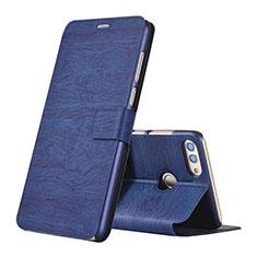 Huawei Enjoy 8 Plus用手帳型 レザーケース スタンド カバー ファーウェイ ネイビー