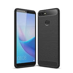 Huawei Enjoy 8 Plus用シリコンケース ソフトタッチラバー ライン カバー ファーウェイ ブラック