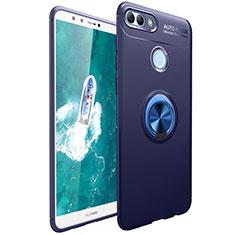 Huawei Enjoy 8 Plus用極薄ソフトケース シリコンケース 耐衝撃 全面保護 アンド指輪 マグネット式 バンパー ファーウェイ ネイビー