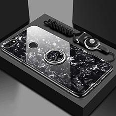 Huawei Enjoy 8e用ハイブリットバンパーケース プラスチック 鏡面 カバー アンド指輪 マグネット式 M01 ファーウェイ ブラック