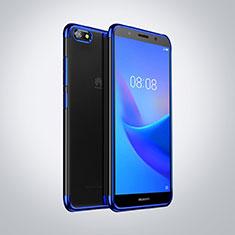 Huawei Enjoy 8e Lite用極薄ソフトケース シリコンケース 耐衝撃 全面保護 クリア透明 S01 ファーウェイ ネイビー