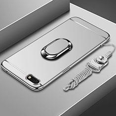 Huawei Enjoy 8e Lite用ケース 高級感 手触り良い メタル兼プラスチック バンパー アンド指輪 亦 ひも ファーウェイ シルバー