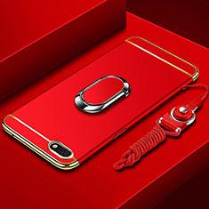 Huawei Enjoy 8e Lite用ケース 高級感 手触り良い メタル兼プラスチック バンパー アンド指輪 亦 ひも ファーウェイ レッド
