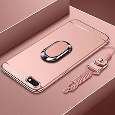 Huawei Enjoy 8e Lite用ケース 高級感 手触り良い メタル兼プラスチック バンパー アンド指輪 亦 ひも ファーウェイ ローズゴールド