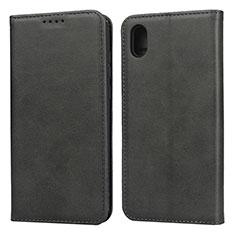 Huawei Enjoy 8S用手帳型 レザーケース スタンド カバー ファーウェイ ブラック