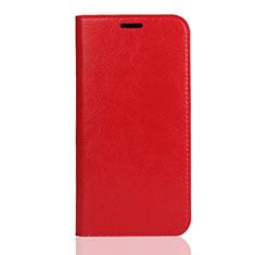 Huawei Enjoy 8S用手帳型 レザーケース スタンド カバー U01 ファーウェイ レッド