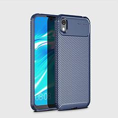 Huawei Enjoy 8S用シリコンケース ソフトタッチラバー ツイル カバー ファーウェイ ネイビー