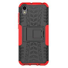 Huawei Enjoy 8S用ハイブリットバンパーケース スタンド プラスチック 兼シリコーン カバー ファーウェイ レッド