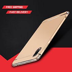 Huawei Enjoy 9用ケース 高級感 手触り良い メタル兼プラスチック バンパー M01 ファーウェイ ゴールド