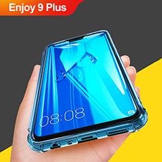 Huawei Enjoy 9 Plus用極薄ソフトケース シリコンケース 耐衝撃 全面保護 クリア透明 T07 ファーウェイ ブルー