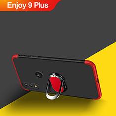 Huawei Enjoy 9 Plus用ハードケース プラスチック 質感もマット 前面と背面 360度 フルカバー アンド指輪 マグネット式 ファーウェイ レッド・ブラック