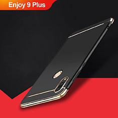 Huawei Enjoy 9 Plus用ケース 高級感 手触り良い メタル兼プラスチック バンパー M01 ファーウェイ ブラック