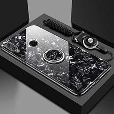 Huawei Enjoy 9 Plus用ハイブリットバンパーケース プラスチック 鏡面 カバー アンド指輪 マグネット式 ファーウェイ ブラック