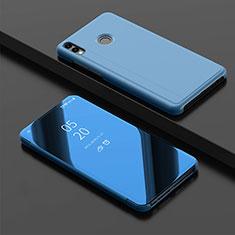 Huawei Enjoy 9 Plus用手帳型 レザーケース スタンド 鏡面 カバー ファーウェイ ネイビー