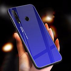 Huawei Enjoy 9s用ハイブリットバンパーケース プラスチック 鏡面 虹 グラデーション 勾配色 カバー ファーウェイ ネイビー