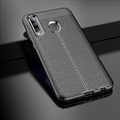 Huawei Enjoy 9s用シリコンケース ソフトタッチラバー レザー柄 S01 ファーウェイ ブラック