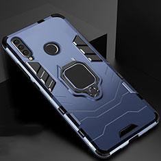 Huawei Enjoy 9s用ハイブリットバンパーケース スタンド プラスチック 兼シリコーン カバー マグネット式 ファーウェイ ネイビー