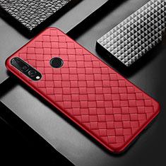 Huawei Enjoy 9s用シリコンケース ソフトタッチラバー レザー柄 A01 ファーウェイ レッド