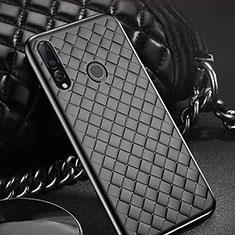 Huawei Enjoy 9s用シリコンケース ソフトタッチラバー レザー柄 A01 ファーウェイ ブラック