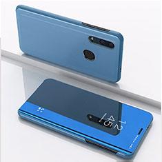 Huawei Enjoy 9s用手帳型 レザーケース スタンド 鏡面 カバー ファーウェイ ネイビー