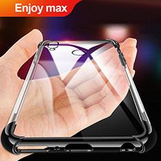 Huawei Enjoy Max用極薄ソフトケース シリコンケース 耐衝撃 全面保護 クリア透明 T02 ファーウェイ ブラック