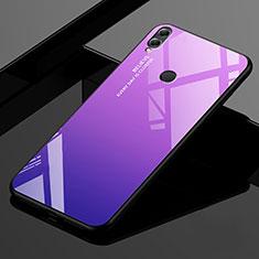 Huawei Enjoy Max用ハイブリットバンパーケース プラスチック 鏡面 虹 グラデーション 勾配色 カバー ファーウェイ パープル