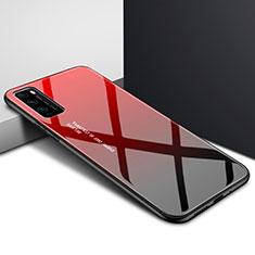 Huawei Enjoy Z 5G用ハイブリットバンパーケース プラスチック 鏡面 虹 グラデーション 勾配色 カバー ファーウェイ レッド