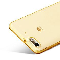 Huawei G Play Mini用極薄ソフトケース シリコンケース 耐衝撃 全面保護 クリア透明 ファーウェイ ゴールド