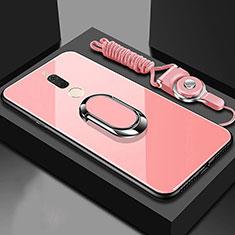 Huawei G10用ハイブリットバンパーケース プラスチック 鏡面 カバー アンド指輪 マグネット式 ファーウェイ ローズゴールド