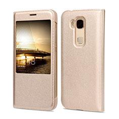 Huawei G7 Plus用手帳型 レザーケース ファーウェイ ゴールド
