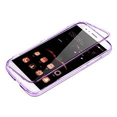 Huawei G7 Plus用ソフトケース フルカバー クリア透明 ファーウェイ パープル