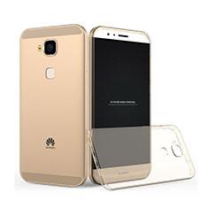 Huawei G8用極薄ソフトケース シリコンケース 耐衝撃 全面保護 クリア透明 ファーウェイ ゴールド