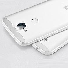 Huawei G8用極薄ソフトケース シリコンケース 耐衝撃 全面保護 クリア透明 ファーウェイ ホワイト