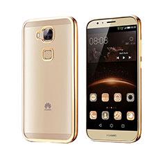 Huawei G8用ハイブリットバンパーケース クリア透明 プラスチック ファーウェイ ゴールド