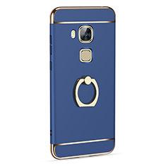 Huawei G8用ケース 高級感 手触り良い アルミメタル 製の金属製 アンド指輪 ファーウェイ ネイビー