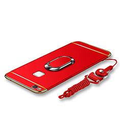 Huawei G9 Lite用ケース 高級感 手触り良い メタル兼プラスチック バンパー アンド指輪 亦 ひも ファーウェイ レッド