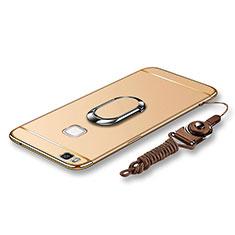 Huawei G9 Lite用ケース 高級感 手触り良い メタル兼プラスチック バンパー アンド指輪 亦 ひも ファーウェイ ゴールド