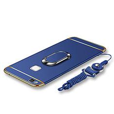 Huawei G9 Lite用ケース 高級感 手触り良い メタル兼プラスチック バンパー アンド指輪 亦 ひも ファーウェイ ネイビー