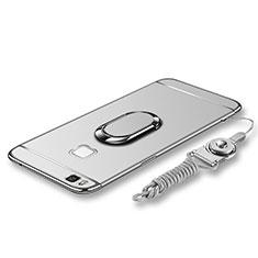 Huawei G9 Lite用ケース 高級感 手触り良い メタル兼プラスチック バンパー アンド指輪 亦 ひも ファーウェイ シルバー