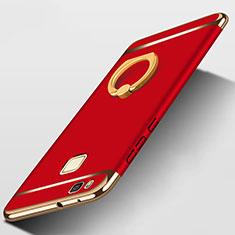 Huawei G9 Lite用ケース 高級感 手触り良い メタル兼プラスチック バンパー アンド指輪 ファーウェイ レッド