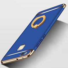 Huawei G9 Lite用ケース 高級感 手触り良い メタル兼プラスチック バンパー アンド指輪 ファーウェイ ネイビー