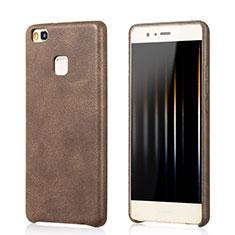 Huawei G9 Lite用ケース 高級感 手触り良いレザー柄 ファーウェイ ブラウン