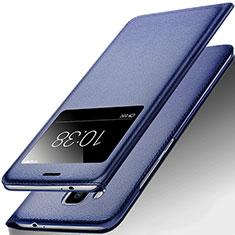 Huawei G9 Plus用手帳型 レザーケース スタンド ファーウェイ ネイビー