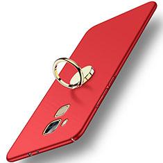 Huawei G9 Plus用ハードケース プラスチック 質感もマット アンド指輪 ファーウェイ レッド