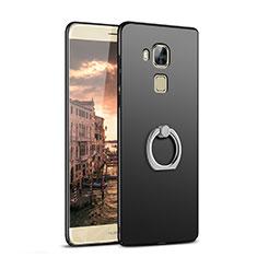 Huawei G9 Plus用ハードケース プラスチック 質感もマット アンド指輪 A02 ファーウェイ ブラック