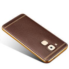 Huawei G9 Plus用シリコンケース ソフトタッチラバー レザー柄 ファーウェイ ブラウン